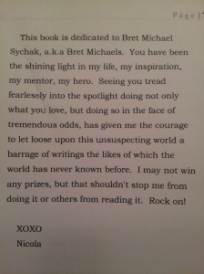 Dedication page of THE RED FANG - dedicated to Bret Michaels
